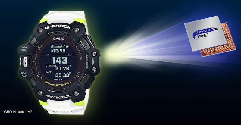 -SHOCK watch and Renesas' RE family controller.