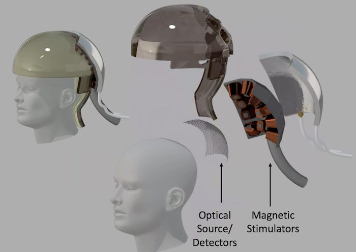 Electronics housed in helmets enable 'thought' transmission.