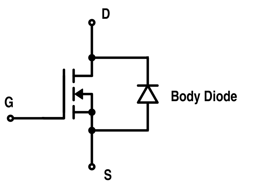 MOSFET Representation with Internal Body Diode