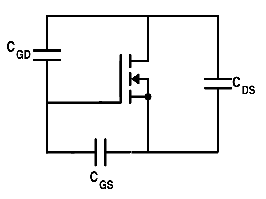 MOSFET Representation Showing Junction Capacitances