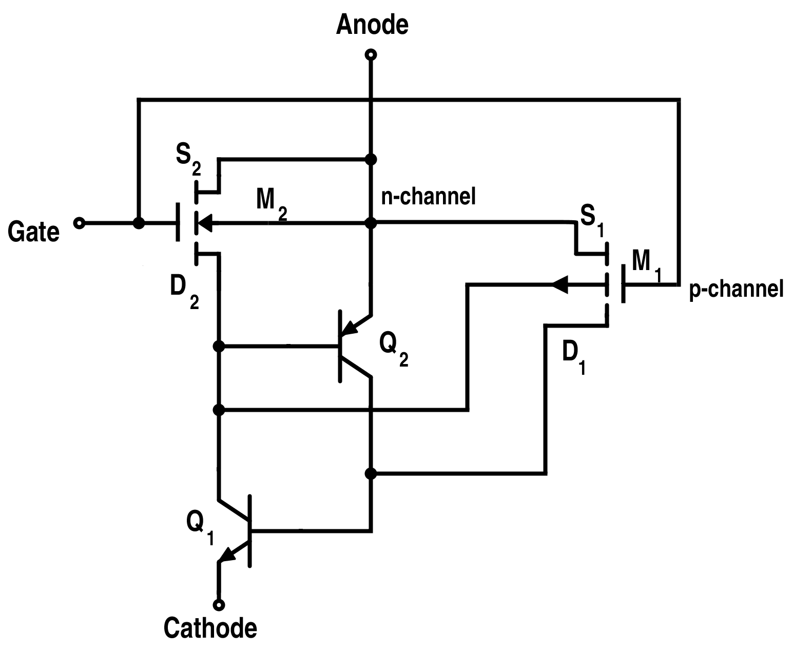 The Basics Of Power Semiconductor Devices Structures Symbols And Voltage Ratings An Scr Equivalent Circuit For P Type Mct