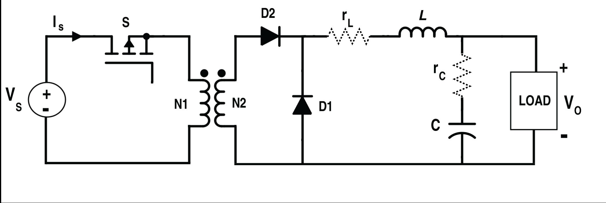 Circuit Diagram of the Non-Ideal Forward Converter