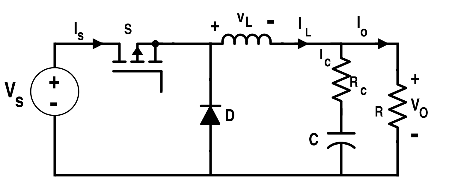 Circuit of the Buck Converter with Non-Ideality