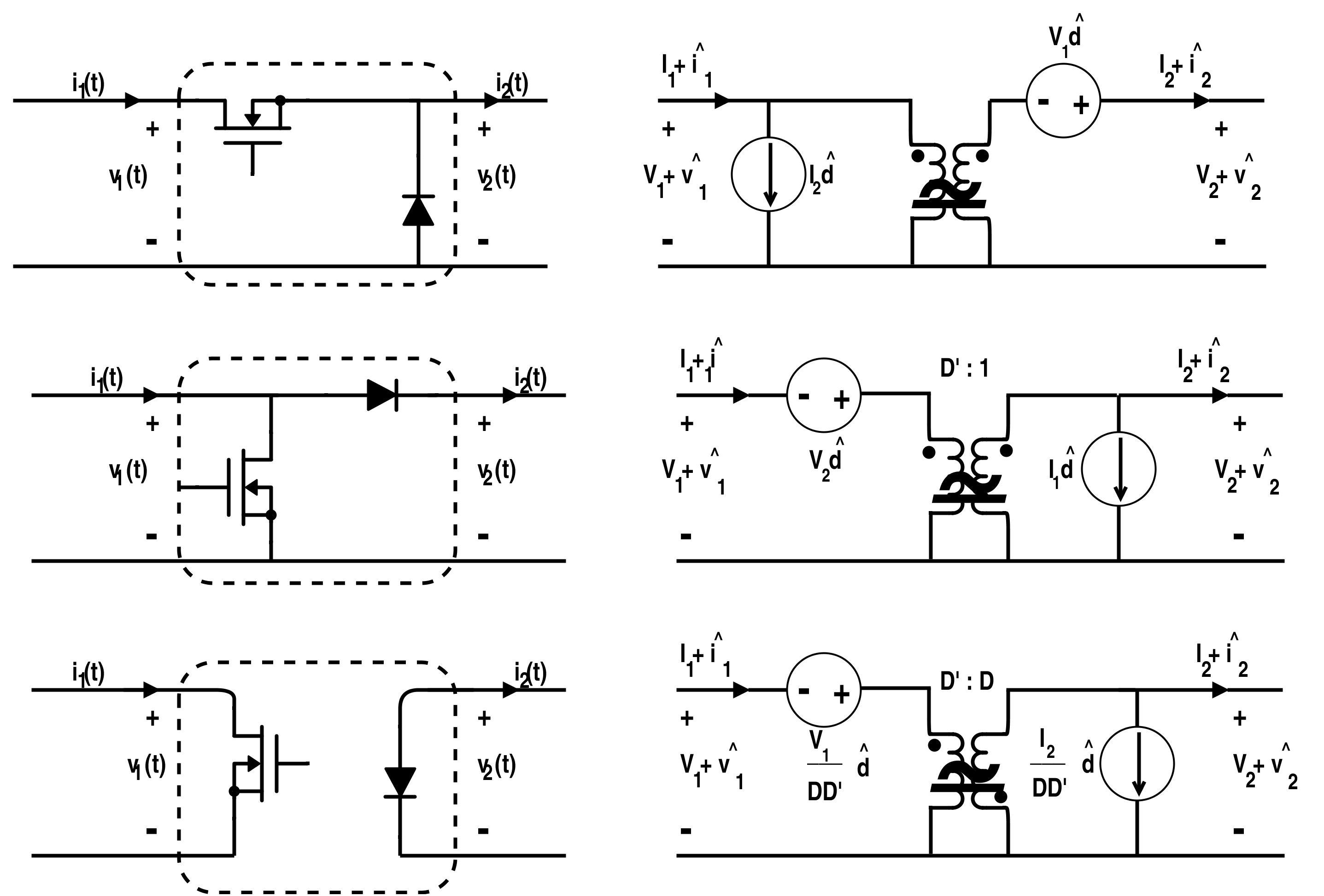 Different Switch Configuration with their Linear-Model Conversion