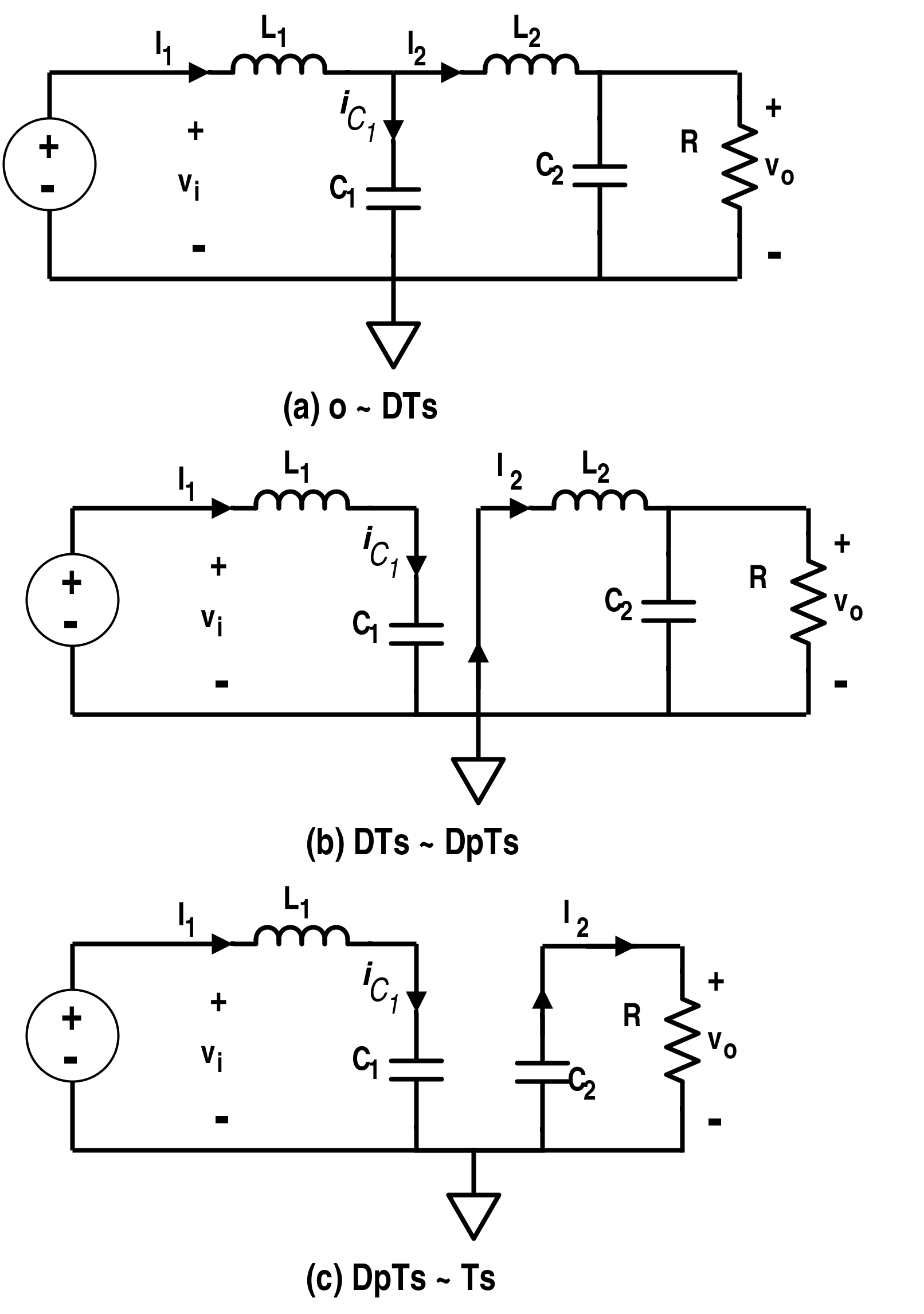 Different Circuit Diagrams for Discontinuous Conduction Mode