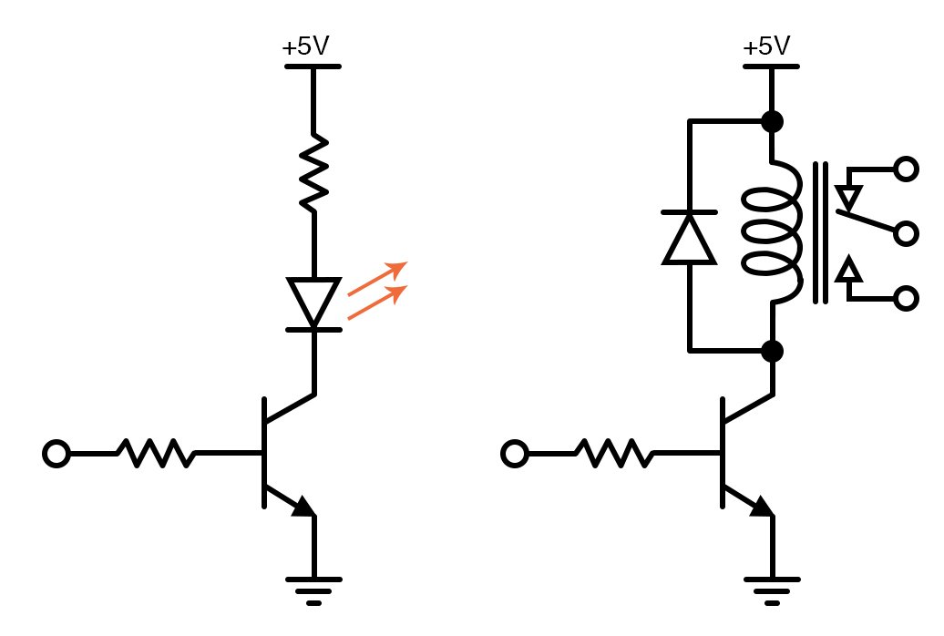 basic switch ciBasic switch circuit is controlling a high-intensity LED (on the left) and a relay (on the right)