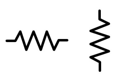 Common resistor schematic symbols.
