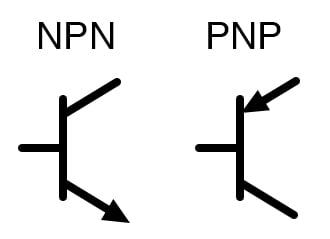 Schematic symbols for bipolar transistors.