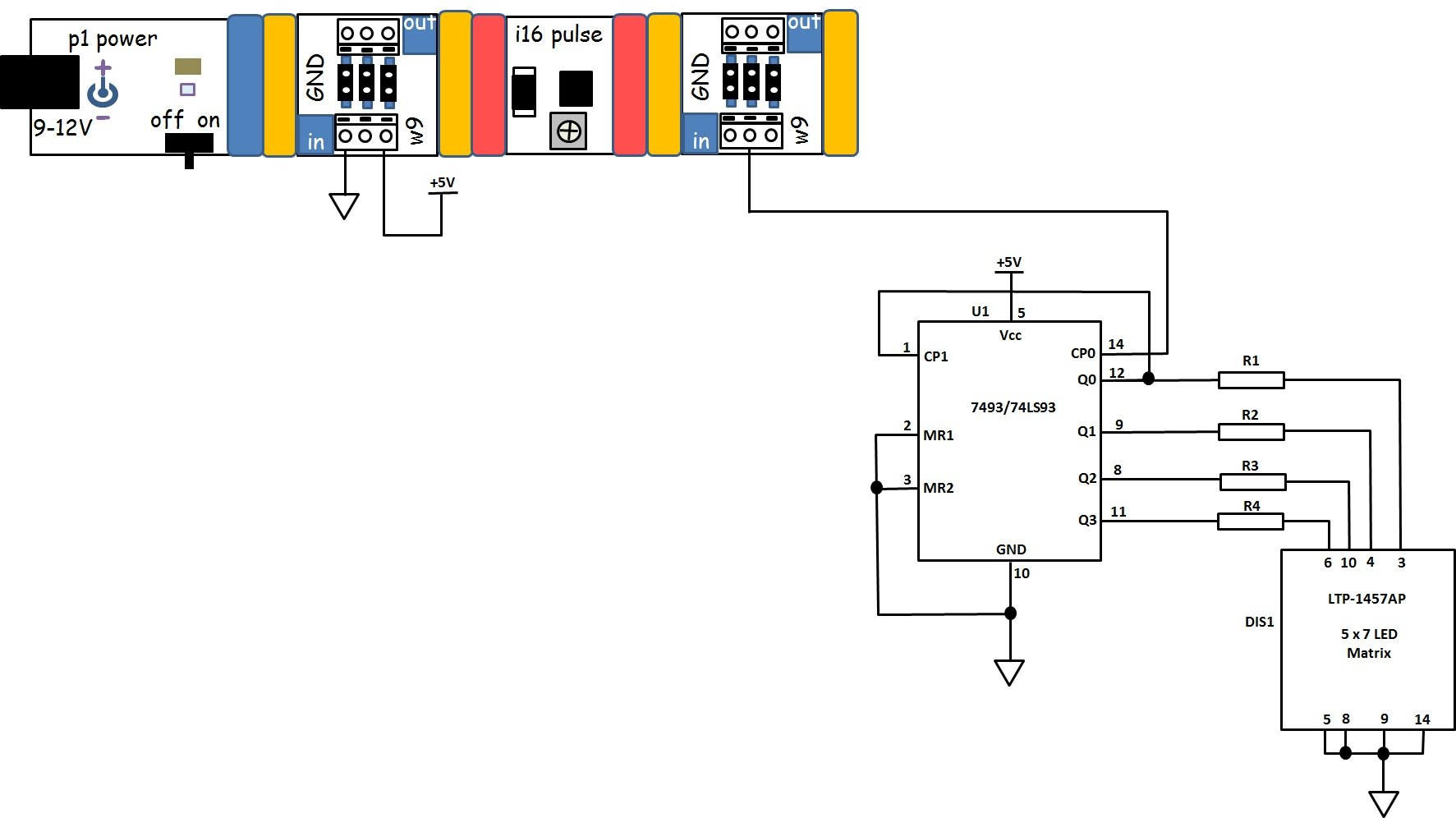 build a 4 bit binary counter with 5x7 led matrix rh allaboutcircuits com logic diagram of ic 7493