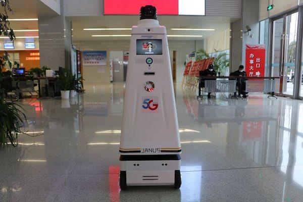 A 5G patrol robot.