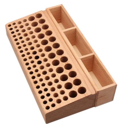 A 98-hole wooden leathercraft tool holder