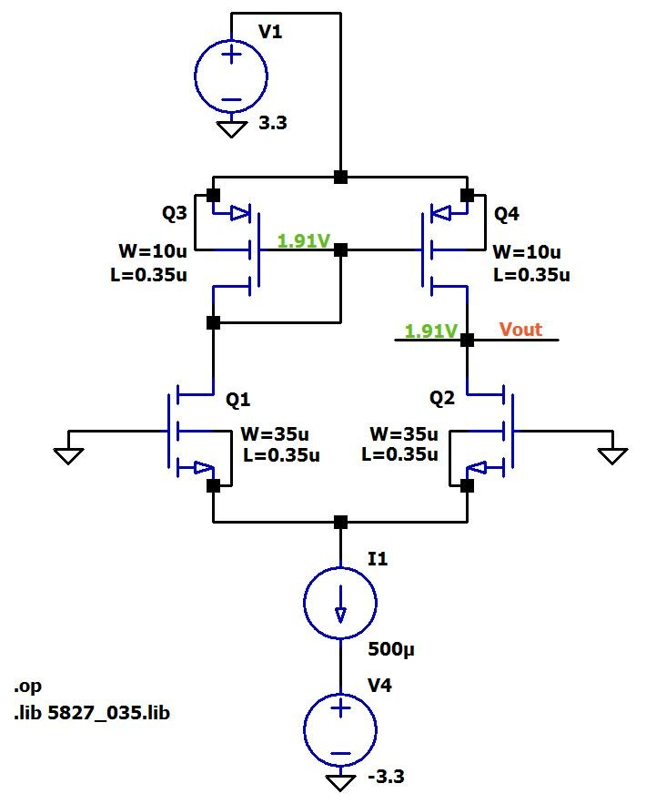 advantages of the actively loaded mosfet differential pair