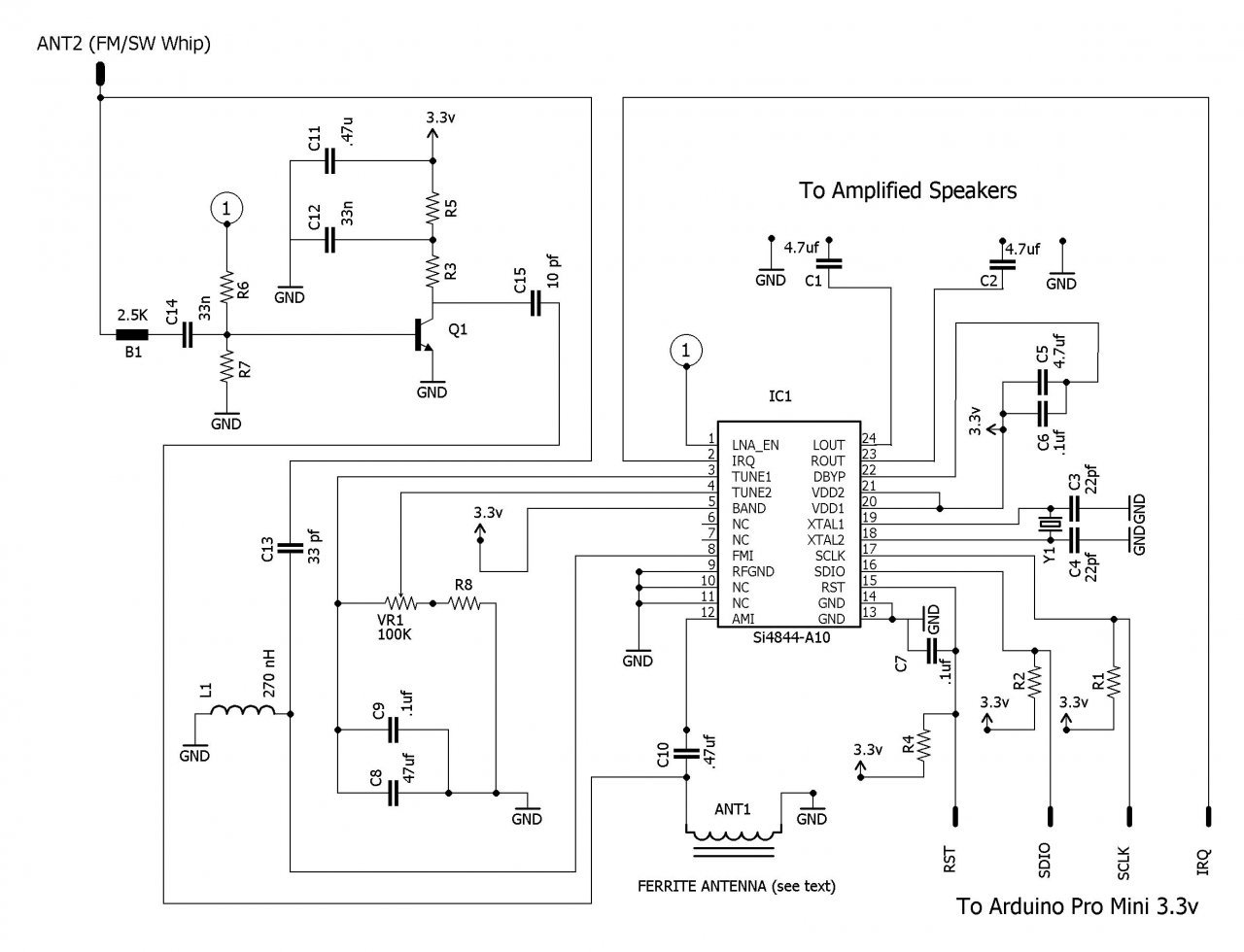 How To Build An Arduino Controlled Am Fm Sw Radio Wiring Diagram Of Electronic Clock The Receiver Schematic Click Enlarge