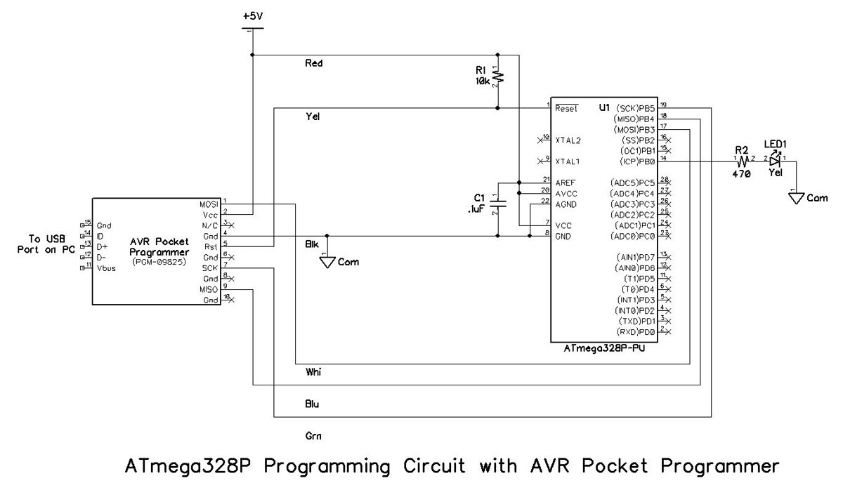 Breadboarding And Programming The Atmega328p Attiny45 In Atmel Pin Diagram Of Uc Note That Resistor R2 Led1 Are Not Strictly Required For But Included Circuit Testing Purposes As Defined Later This