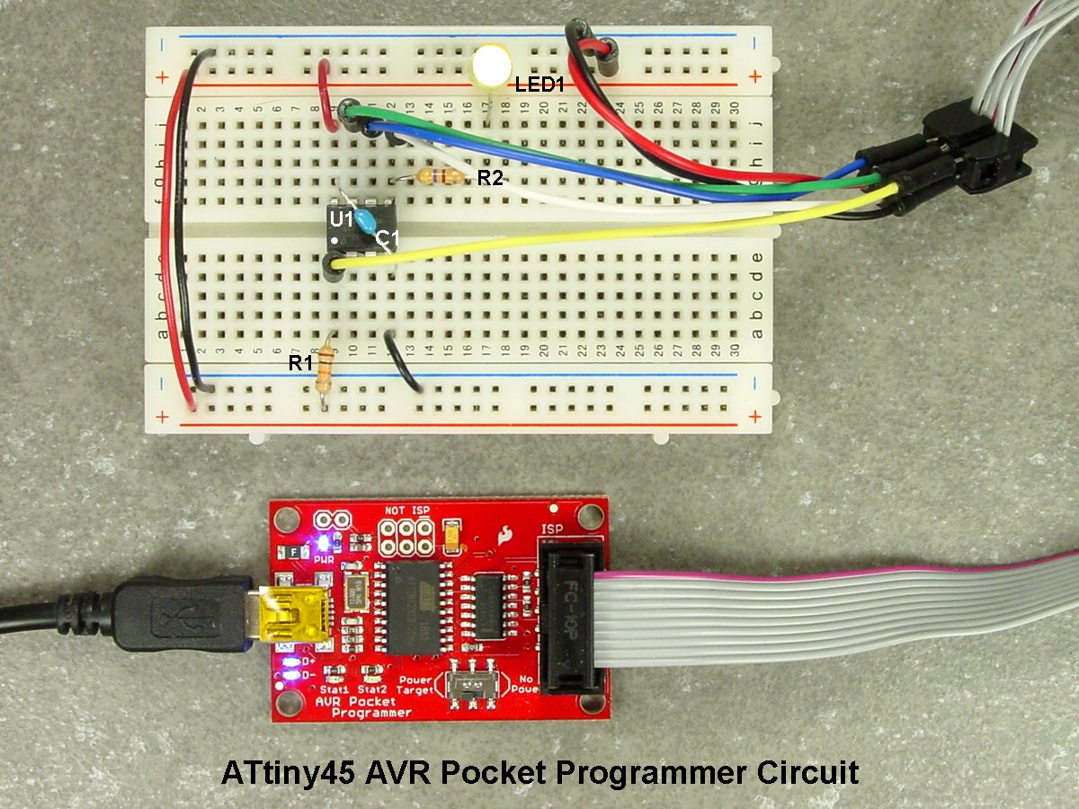 Breadboarding And Programming The Atmega328p Attiny45 In Atmel Wiring Diagram Note That Wire Colors Assembly Photographs Below Correspond To Those Schematic Diagrams Above