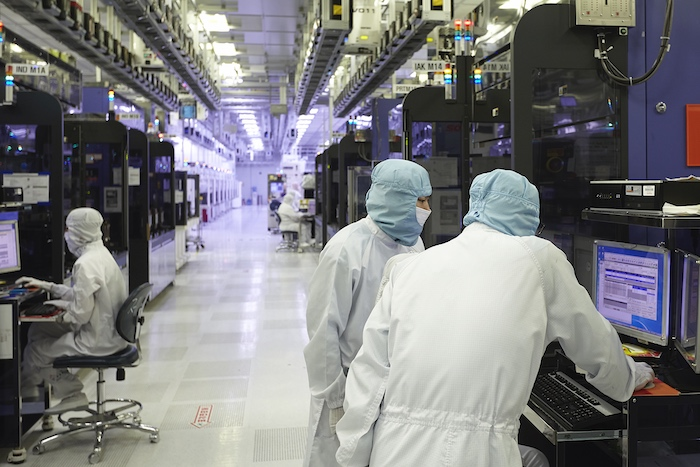 A look inside one of SK Hynix's fabrication clean rooms