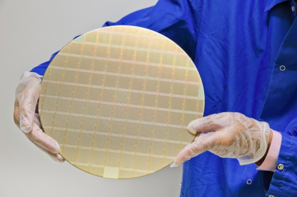 A number of POWER10 processors on a silicon wafer.