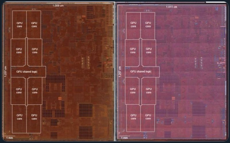 A side-by-side comparison of Apple's A12X and A12Z
