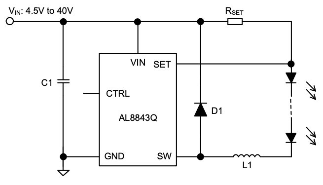 A typical application circuit for the AL8843Q.