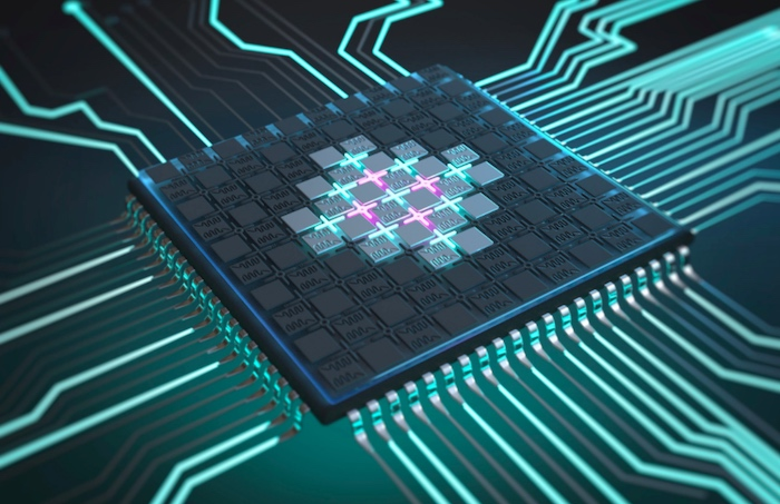 A visual representation of a quantum processor based on superconducting qubits