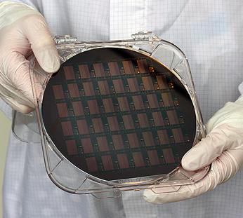 A wafer of PillarHall test chips