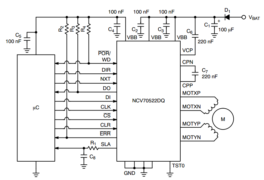 Schematic for driving a stepper motor adaptive front lighting systems applications