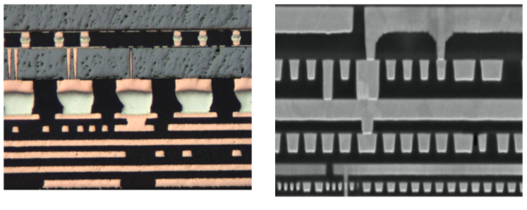 The interconnect architecture in a 3D-printed circuit board (left) looks similar to the architecture in an IC (right)