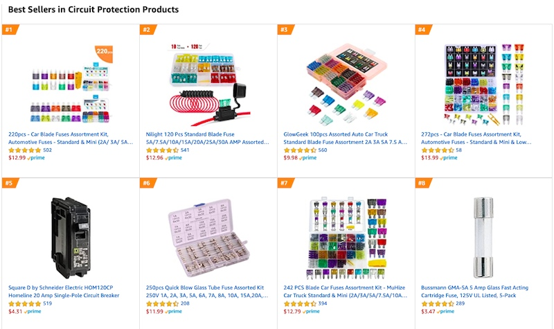 Amazon's best sellers for circuit protection products.