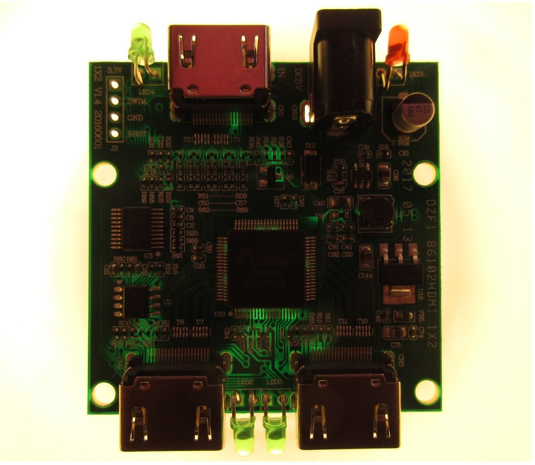 Teardown Tuesday A Powered Ultra High Definition Hdmi Splitter News Highdefinition Multimedia Interface Connector Diagram The Pcb Held Against Bright Light Reveals That Has No Internal Layers