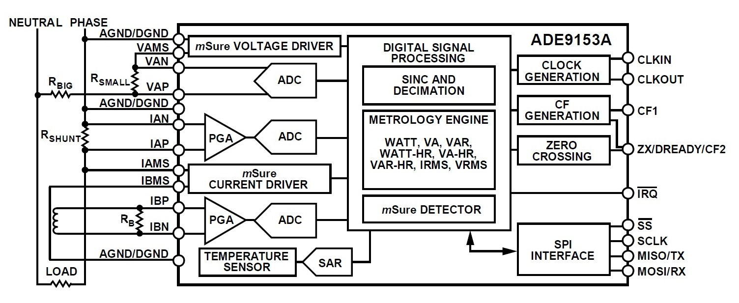 Ac Energy Metering A Single Phase Ic With Cell Phone Detector Circuit Diagram On Zero Crossing Typical Application For The Ade9153a Taken From Datasheet Pdf