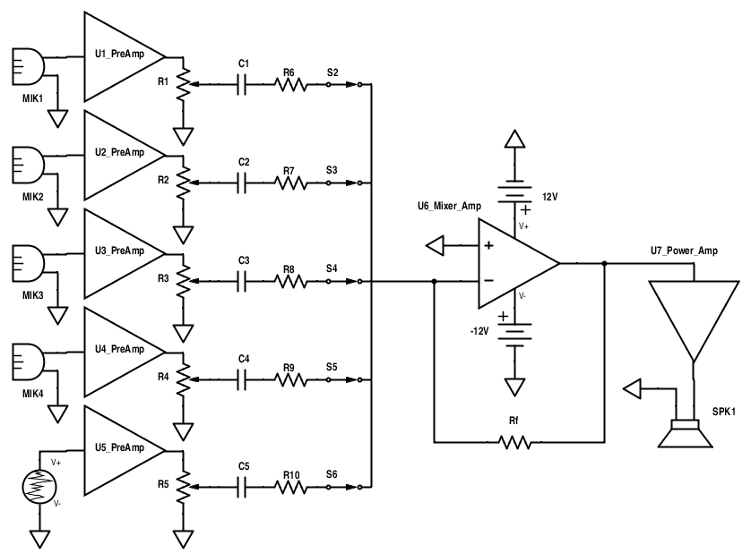 build an audio mixer rh allaboutcircuits com mixer schematic diagram with pcb layout mixer schematic diagram