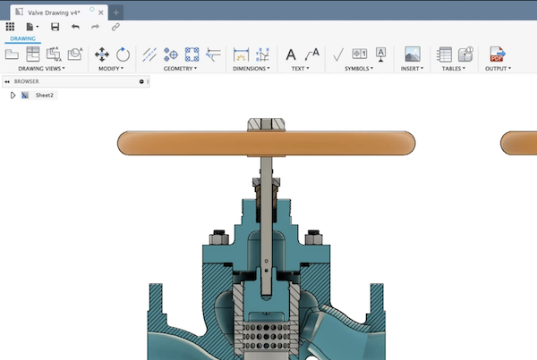 2D drawings in Fusion 360.