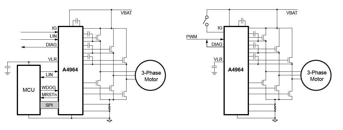 Allegro's A4964 sensorless BLDC controller can operate either with a microcontroller or as an independent motor controller