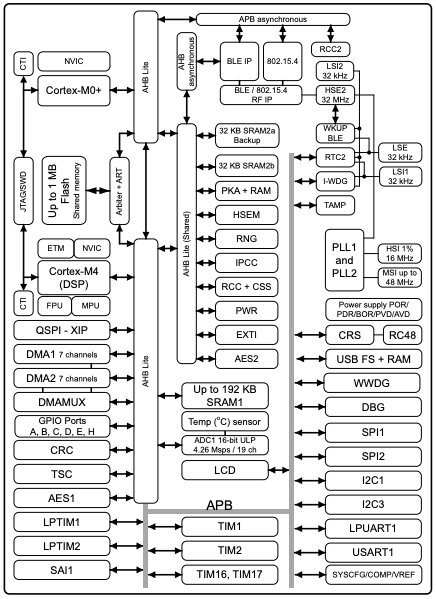 Block diagram of the STM32WB55xx