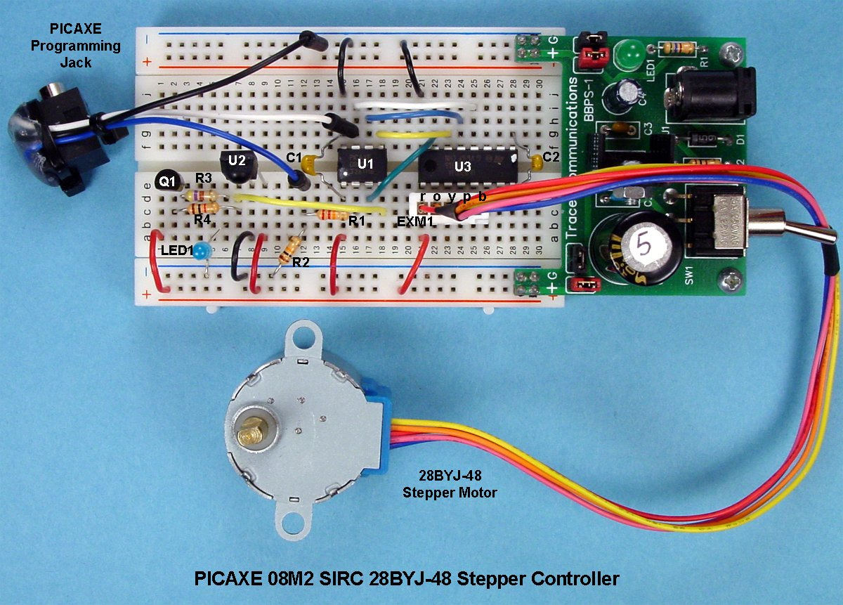 Controlling a stepper motor with an sirc transmitter and for Controlling a stepper motor