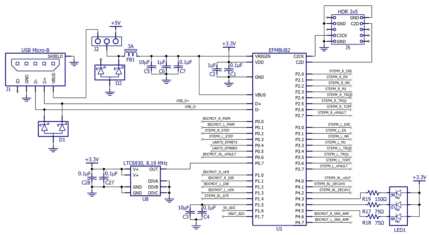 C Biscuit Schematic Design For The Rcbmicrocontroller Motor Shown Below Is Pulse Width Monitor You May Have Noticed In Block Diagram That Efm8 Appears To Be Powered By 5 V From Dc Converter Actually Though Has An Integrated