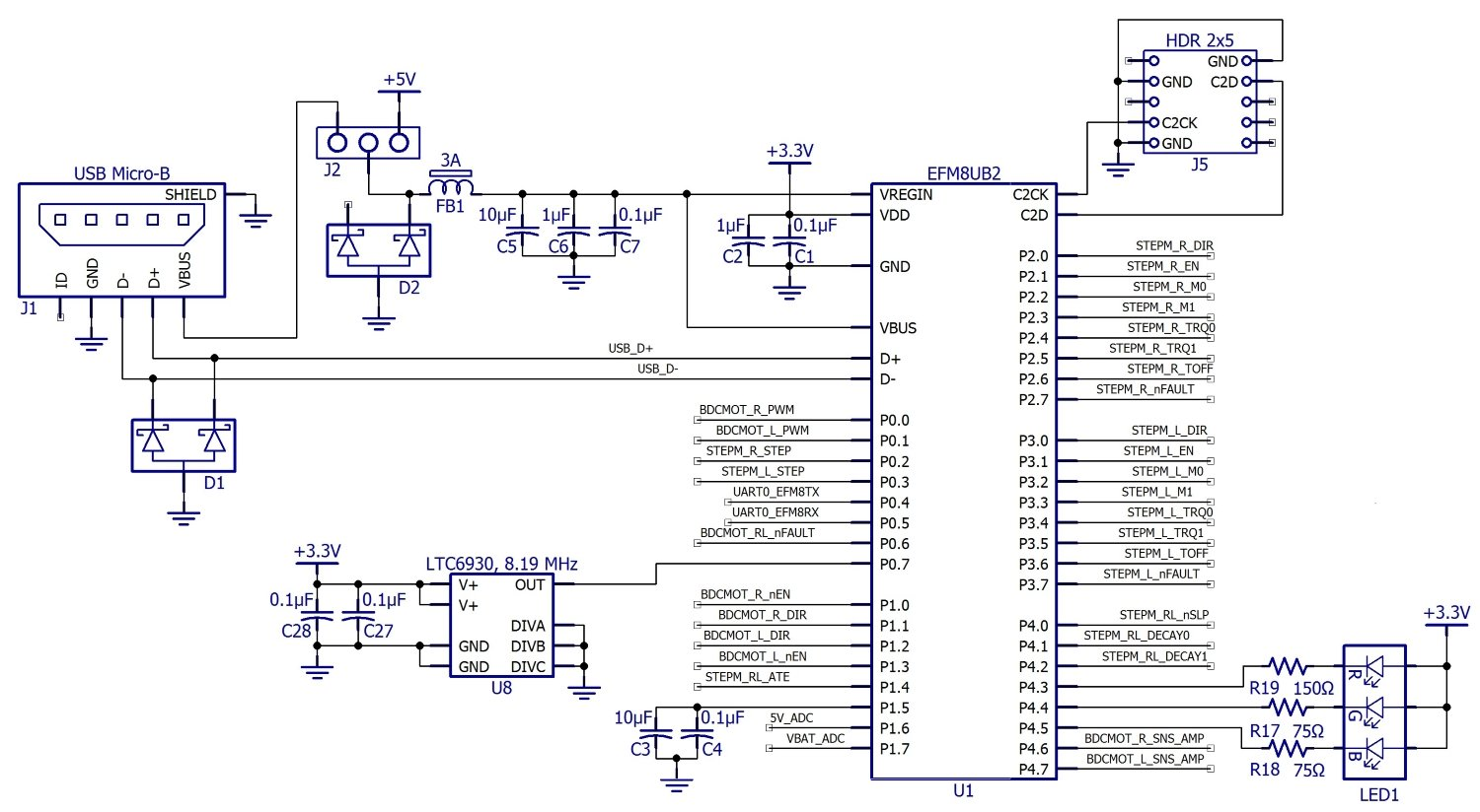 C Biscuit Schematic Design For The Rcbmicrocontroller Motor Voltage Regulator With Shutdown Digital Wiring Diagram In Block That Efm8 Appears To Be Powered By 5 V From Dc Converter Actually Though Has An Integrated Linear