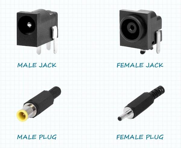 Examples of male and female plugs and jacks