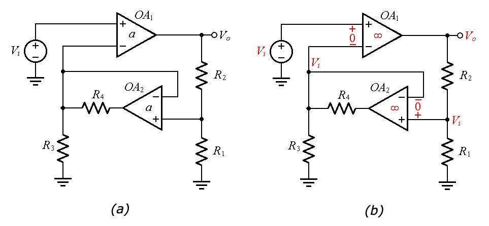 Composite amplifier for improved phase accuracy and the idealized circuit for a quick analysis