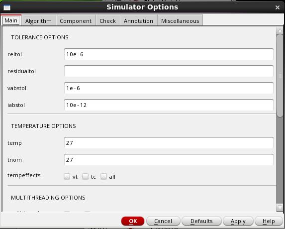 Initial setup of simulator options