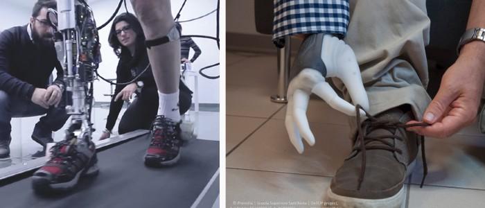 CYBCYBERLEGSs Plus Plus prosthetic leg (left) and DeTOP's prosthetic hand(right)