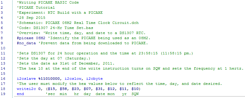 how to build a real time clock with a picaxethe first is used to load the day, date, and time into the ds1307, is very short, and is shown below it is reasonably well commented, but will be discussed