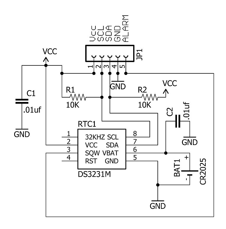 Schematic for the basic RTC board.
