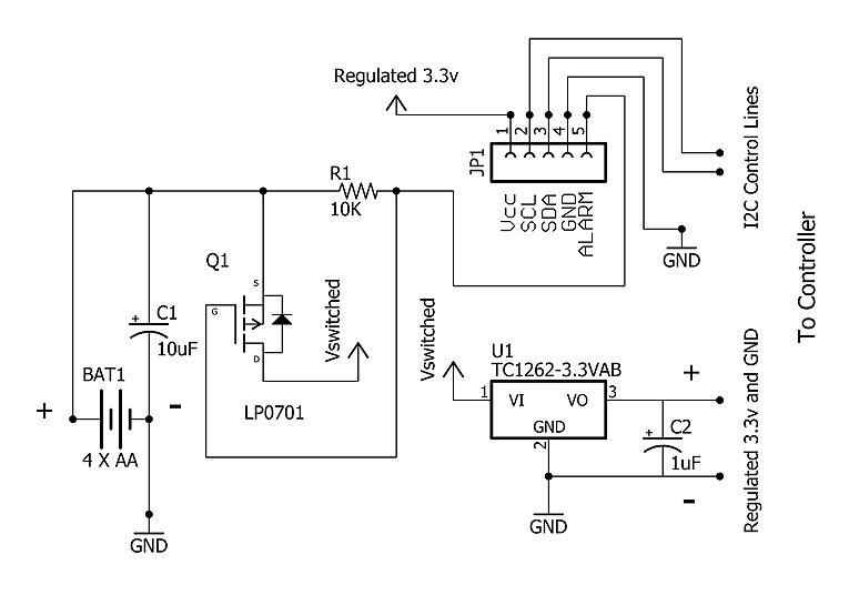 Schematic for using an LDO regulator with the RTC alarms.