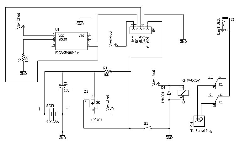 Schematic for the power cycle switch circuit.