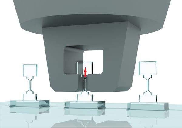 Image of microfabricated diamond bridge samples under tensile strain