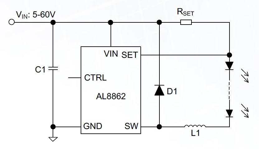 While the power switch is integrated into the IC, choosing some external components is still required