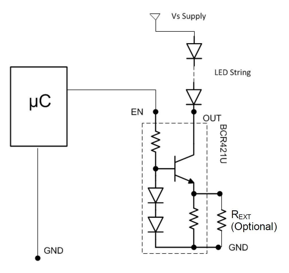 A Simple Method Of Driving Low Current Led Strips Schematic The Power Dimmer Circuit Pwm Dimming With Bcr421u Diagram Taken From Datasheet Pdf
