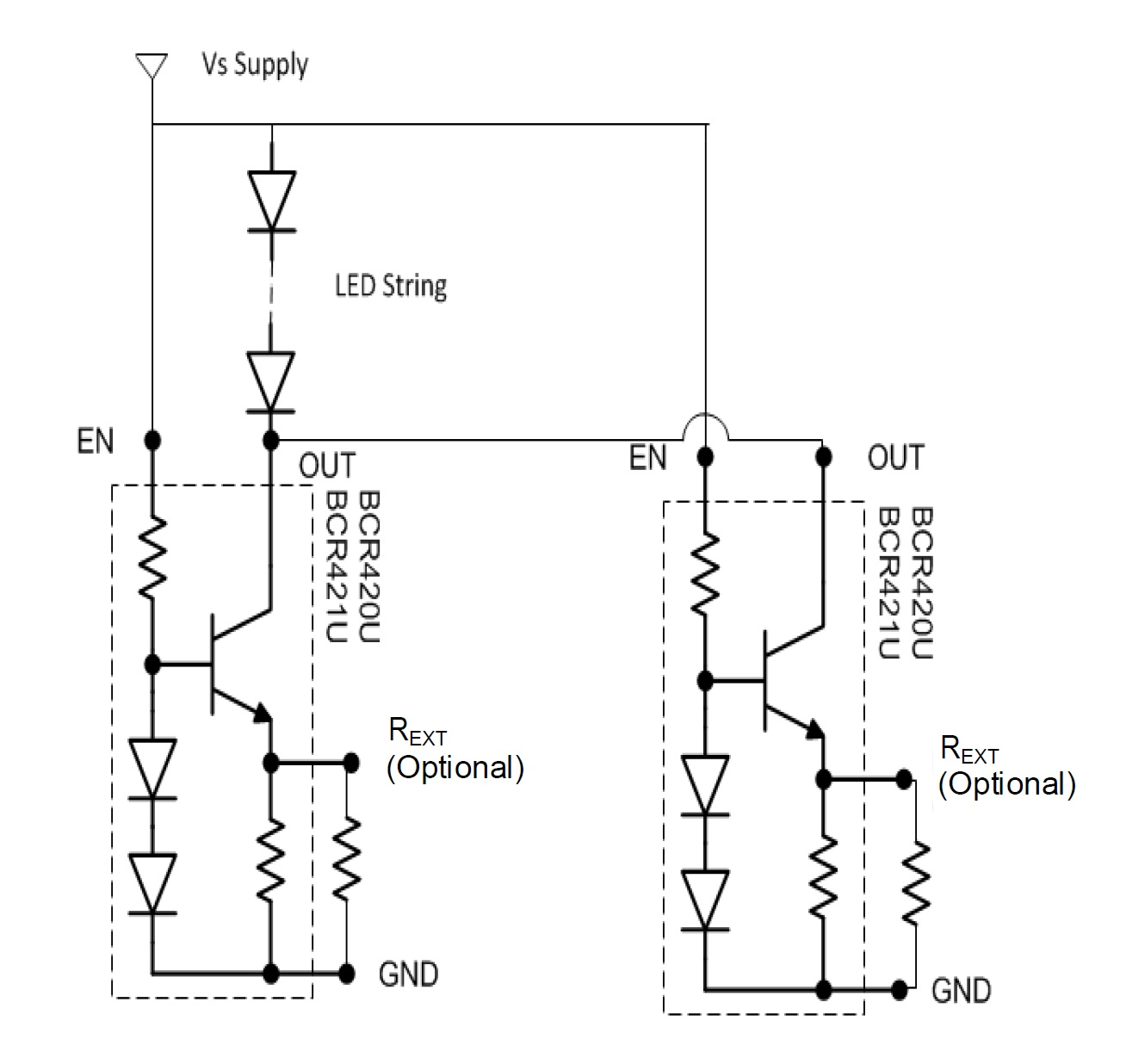 A Simple Method Of Driving Low Current Led Strips Source Circuit With 2 Bjt S Parallel Configuration Allows For Higher Currents Taken From The Datasheet Pdf
