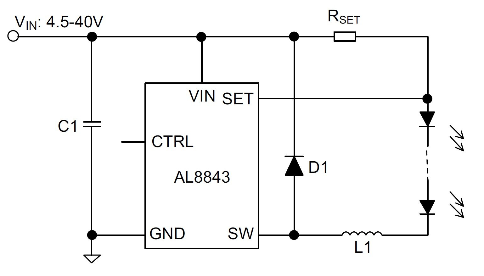 The figure below, from the AL8843's datasheet, shows a typical application  circuit; note that there's no external MOSFET and, furthermore, ...